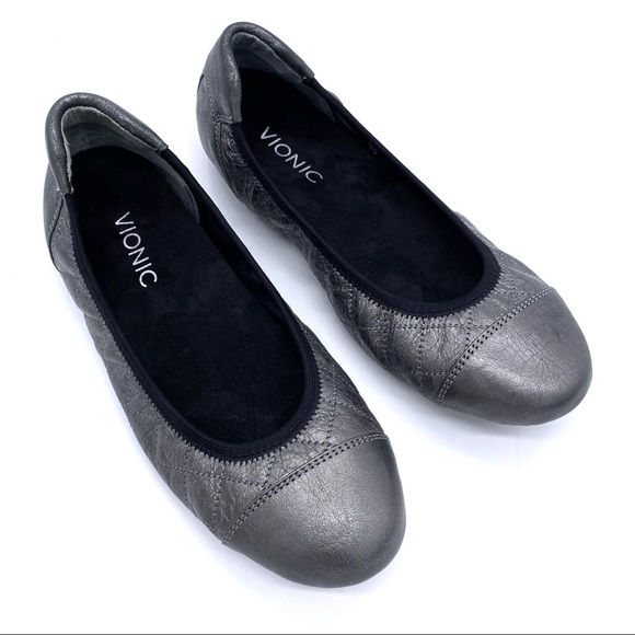 VIONIC Orthaheel Ava Leather Ballet Flats Silver 7